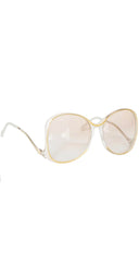 1970s Peach & White Oversized Sunglasses Mod.1081/628