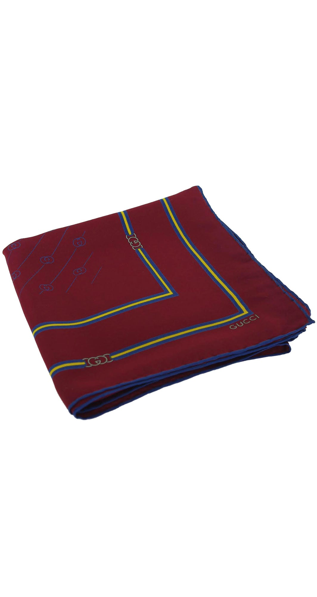 1970s Burgundy Monogram Silk Scarf