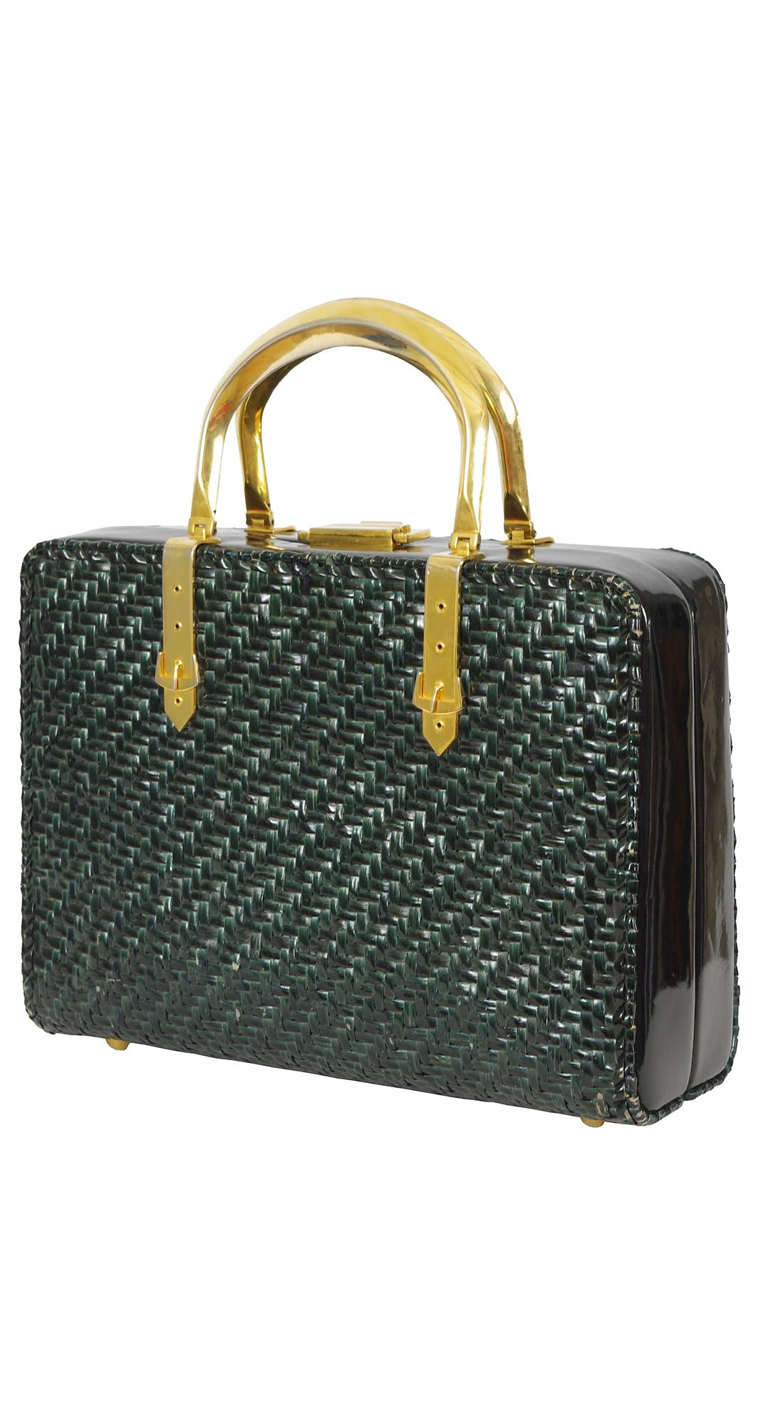 1960s Green Wicker Buckle Box Handbag