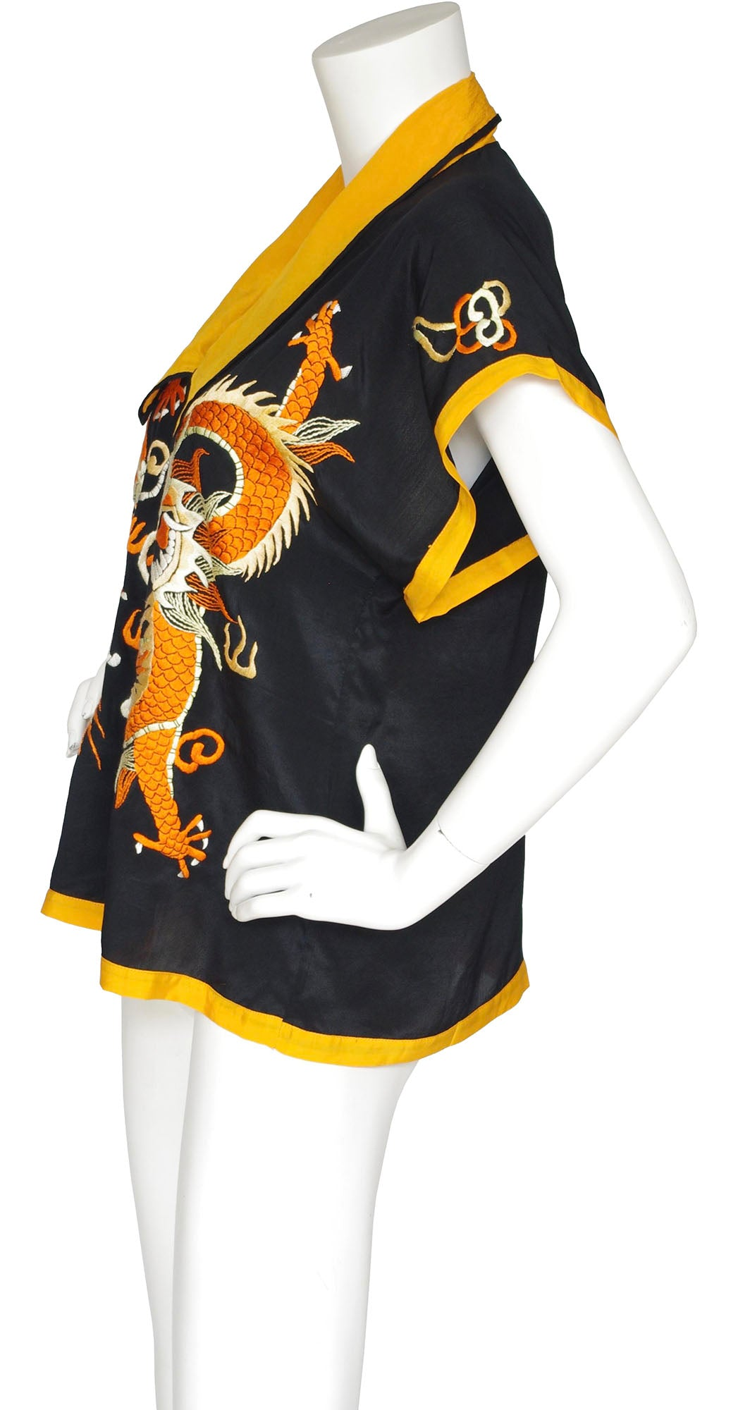 1920s Hand Embroidered Dragon Chinoiserie Silk Lounge Top