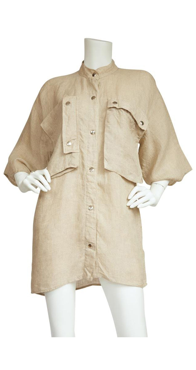 1980s Ko and Co Beige Linen Tunic
