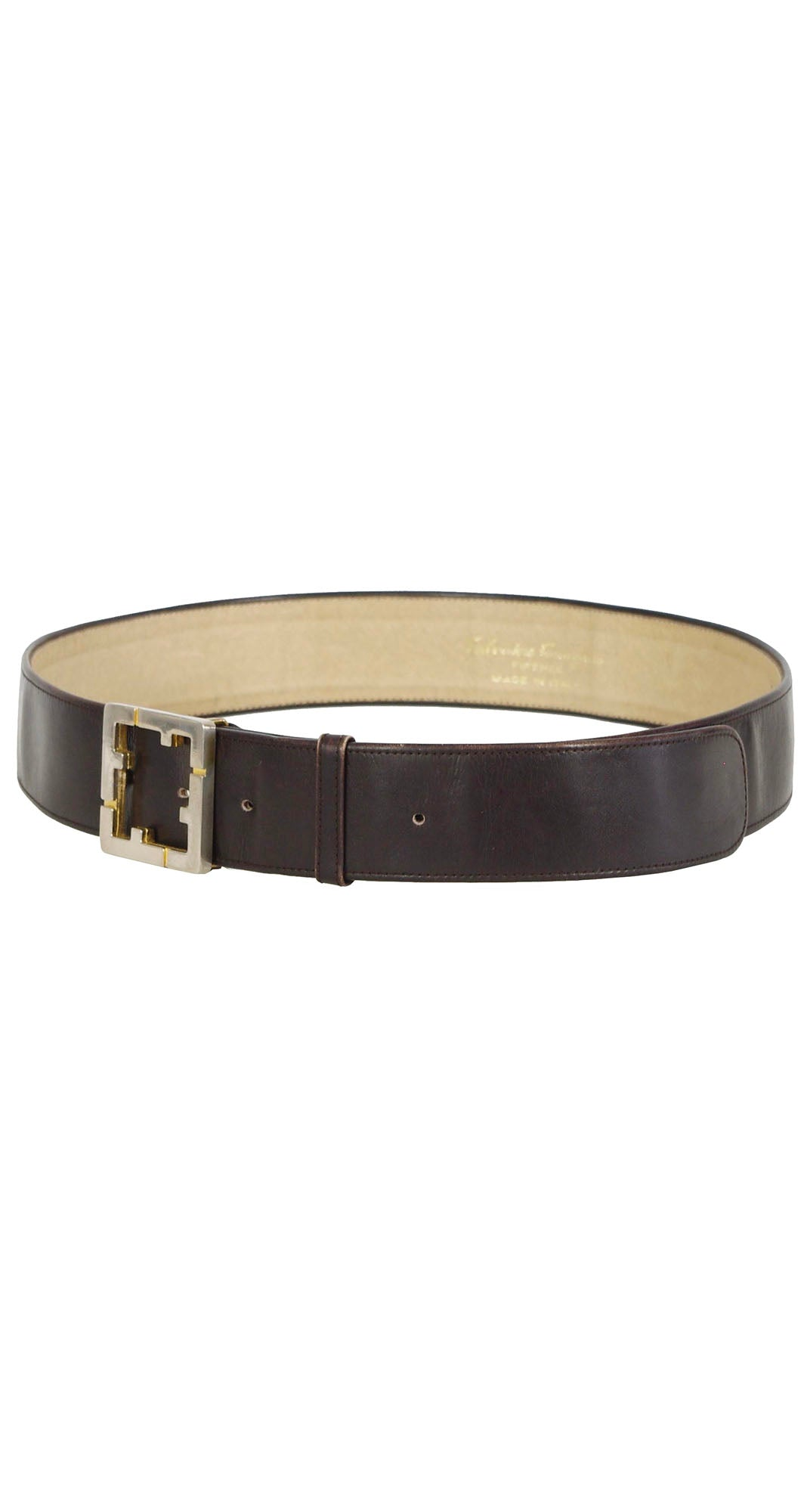 "1970s ""F"" Buckle Brown Leather Waist Belt"