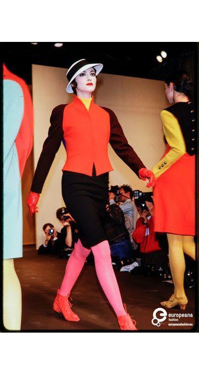 1989 F/W Runway Vibrant Orange Wool Pointed Collar Jacket
