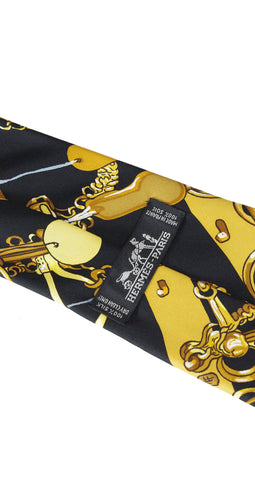 Mors and Filet Black and Gold Horsebit Silk Necktie