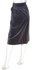 1970s Gray Velvet High Waisted Skirt
