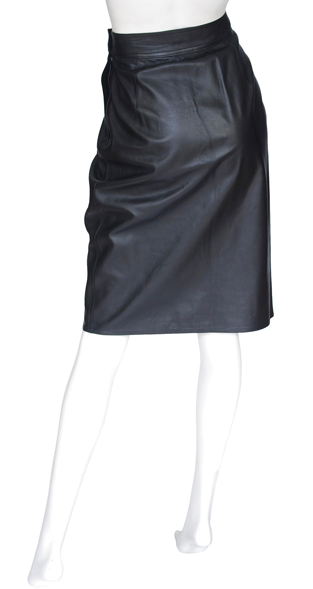 1980s Black Lamb Leather High Waisted Skirt