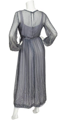 1970s Gray Silk Chiffon Balloon Sleeve Gown