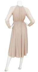 1970s Seductive Sheer Bust Beaded Nude Chiffon Evening Dress