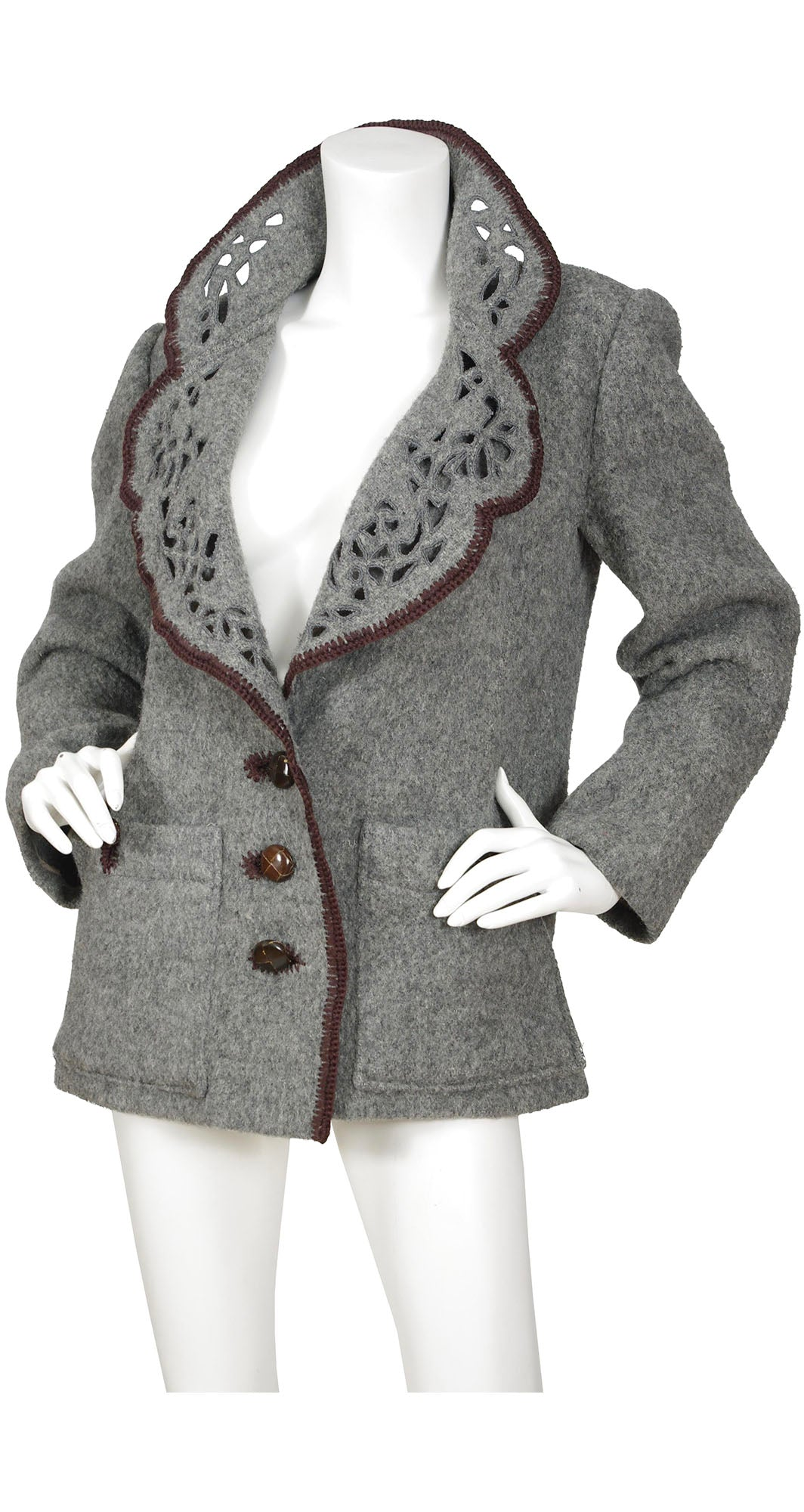 1970s Grey Wool Cut-Out Jacket