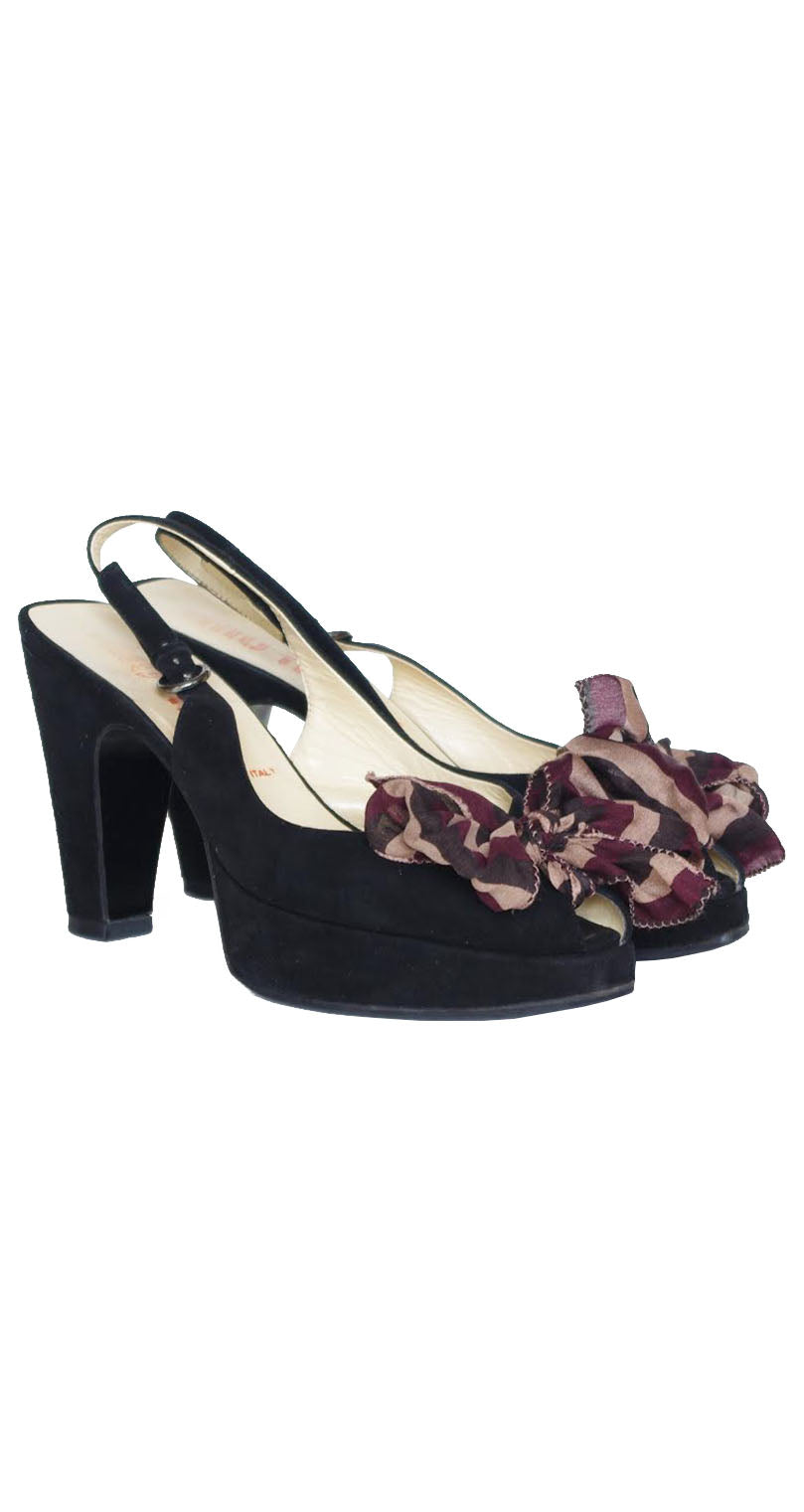 1990s does 1940s Silk Bow Suede Peep Toe Platform Shoes