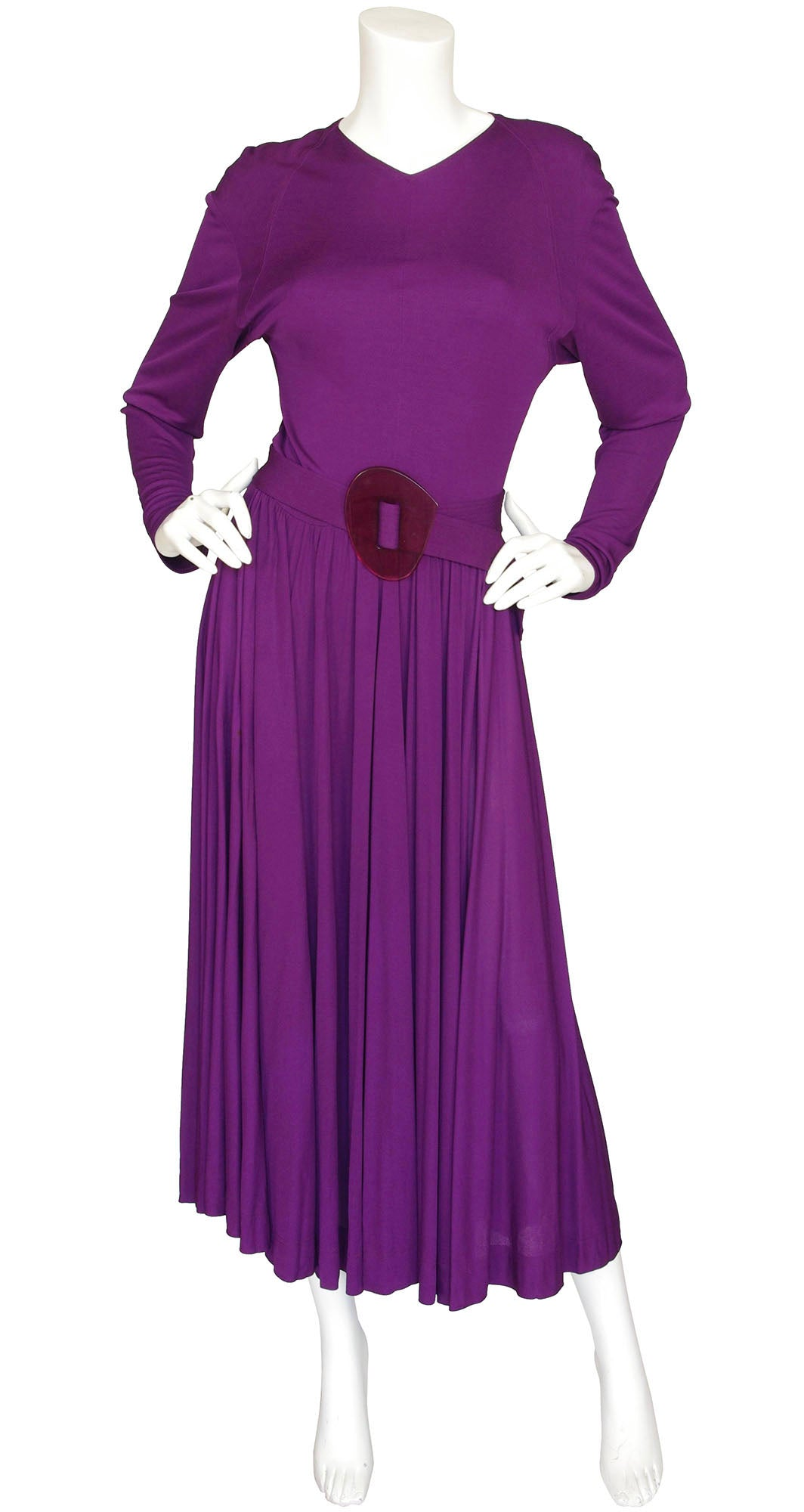 1970s Purple Viscose Jersey Dress