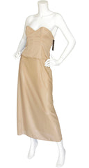 "NWT ""Premiere"" Nude Strapless Bustier Evening Dress"