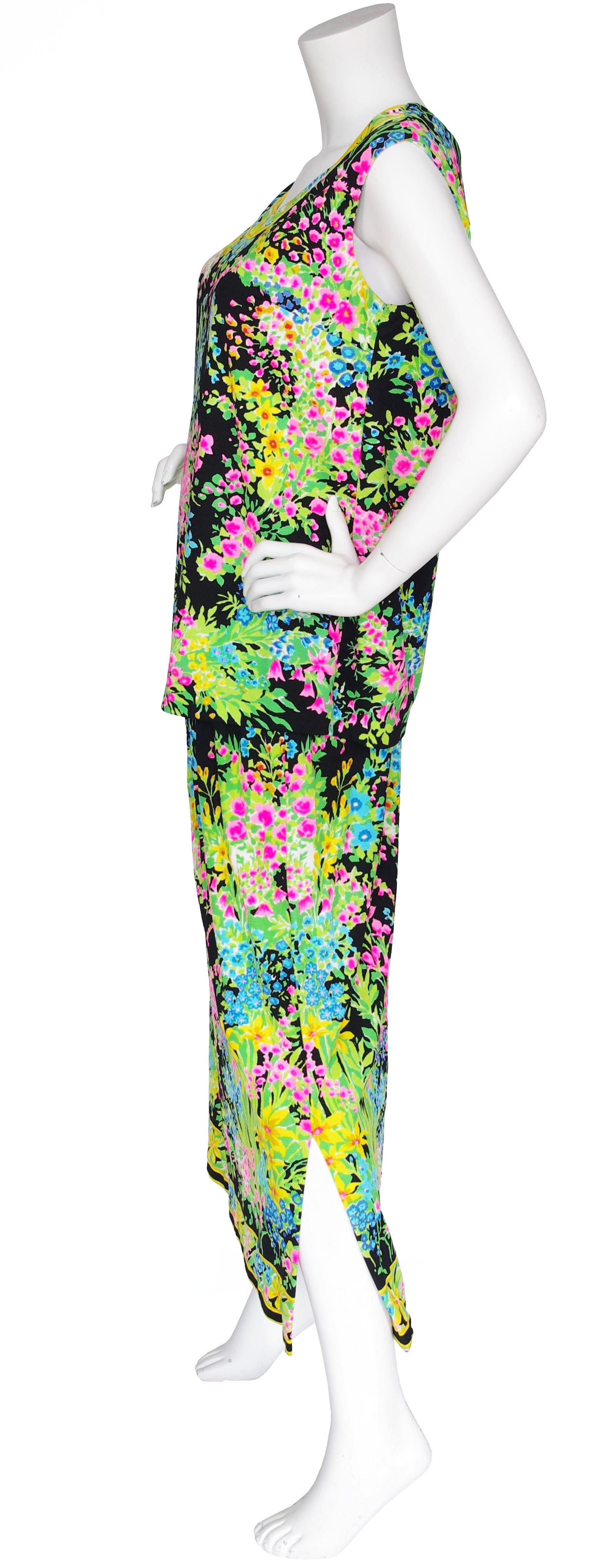 1970s Floral Jersey Top & Maxi Skirt Set