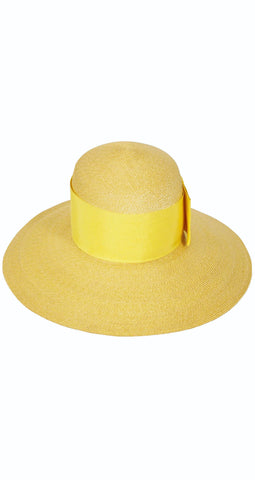 1960s Yellow Straw Wide Brim Sun Hat
