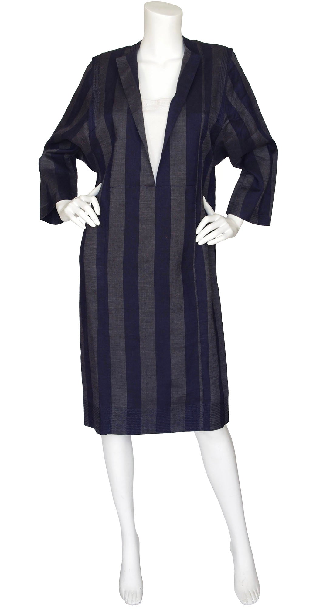 1980s Striped Pure Linen Day Dress