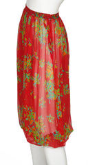1973 Red Floral Silk Chiffon Harem Pants
