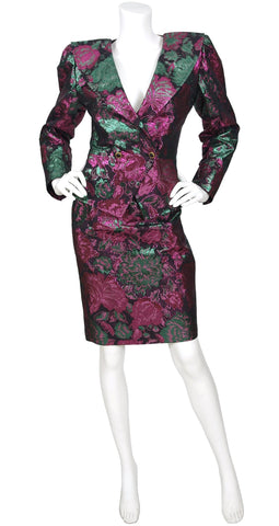 1989 F/W Floral Metallic Brocade Evening Skirt Suit