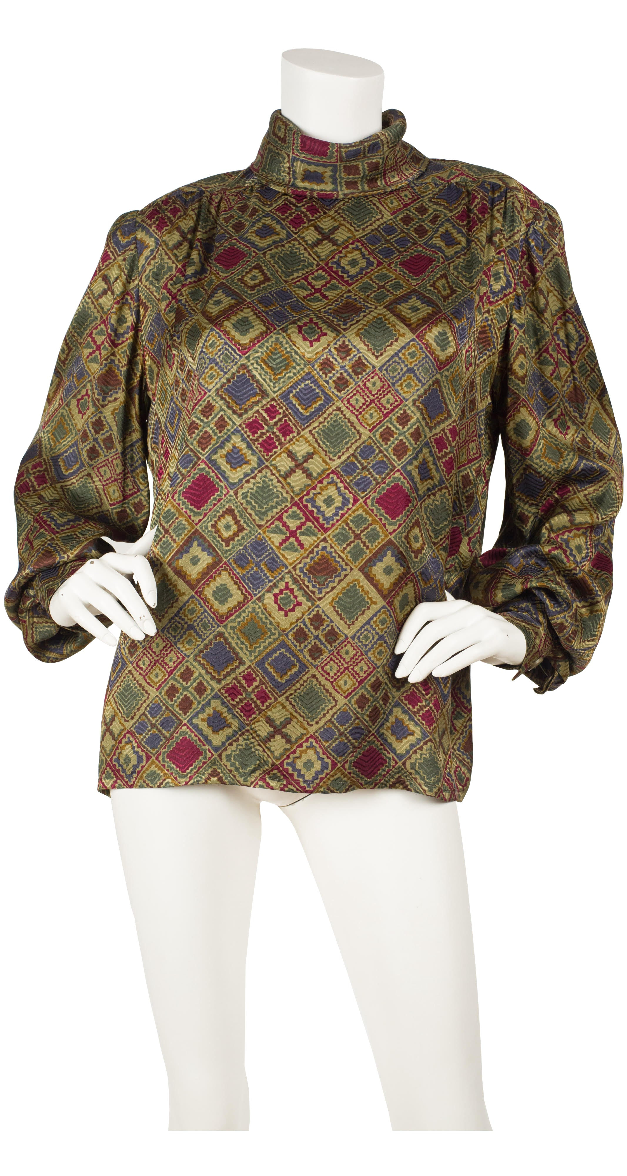 1980s Numbered Balloon Sleeve Jacquard Silk Blouse
