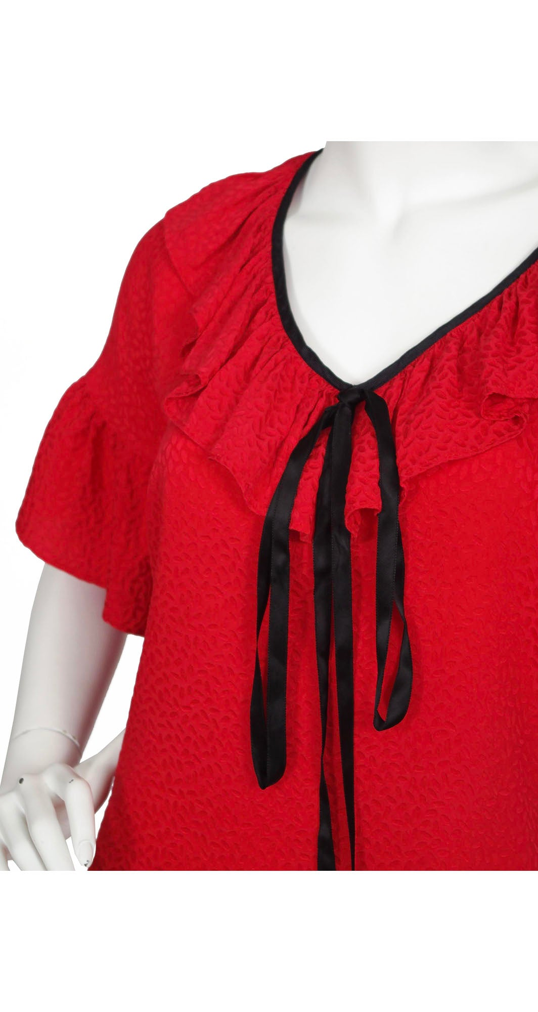 1970s Flamenco Red Silk Ruffle Blouse