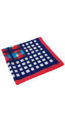 1970s Red, White & Blue Plaid Cotton Scarf
