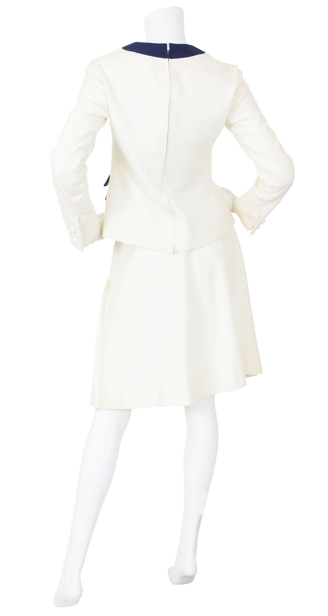 c. 1968 Mod Cream Wool Top and Pleated Skirt Set