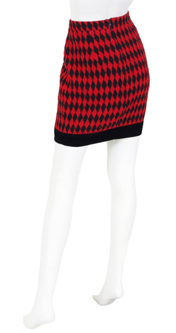 Oliver Early 1990s Harlequin Wool & Velvet Mini Skirt