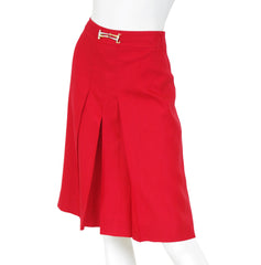1970s Red Pleated Horsebit Skirt