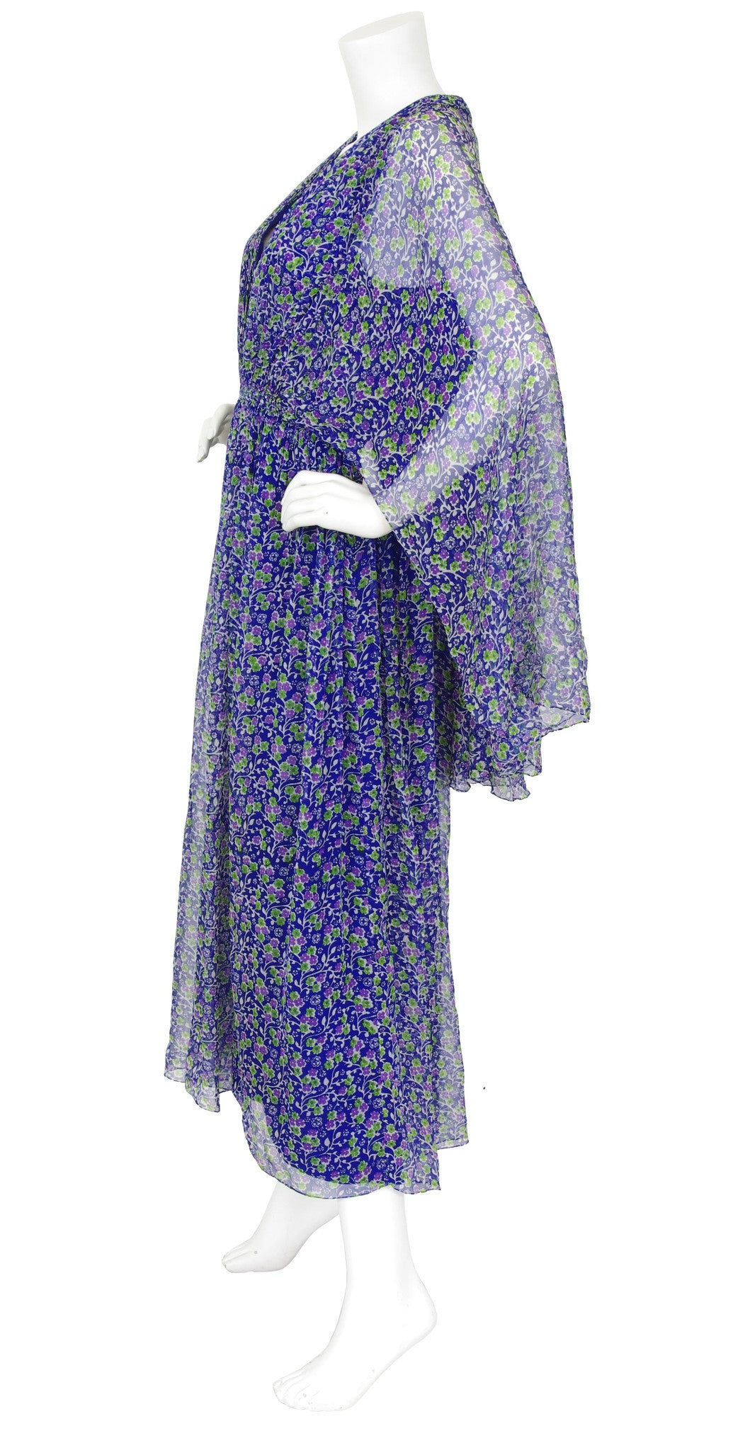 1970s Blue Floral Silk Chiffon Caftan Maxi Dress