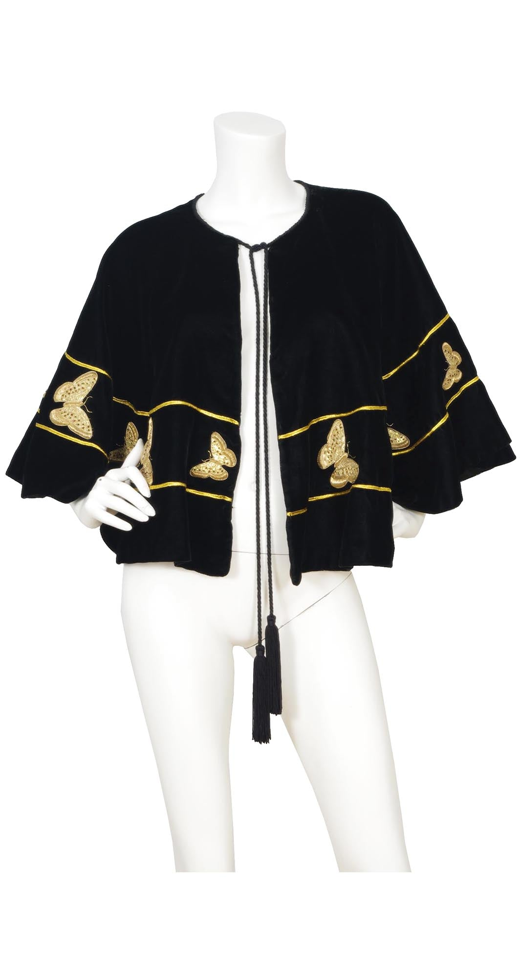 Gold Embellished Butterfly & Black Velvet Tassel Cape