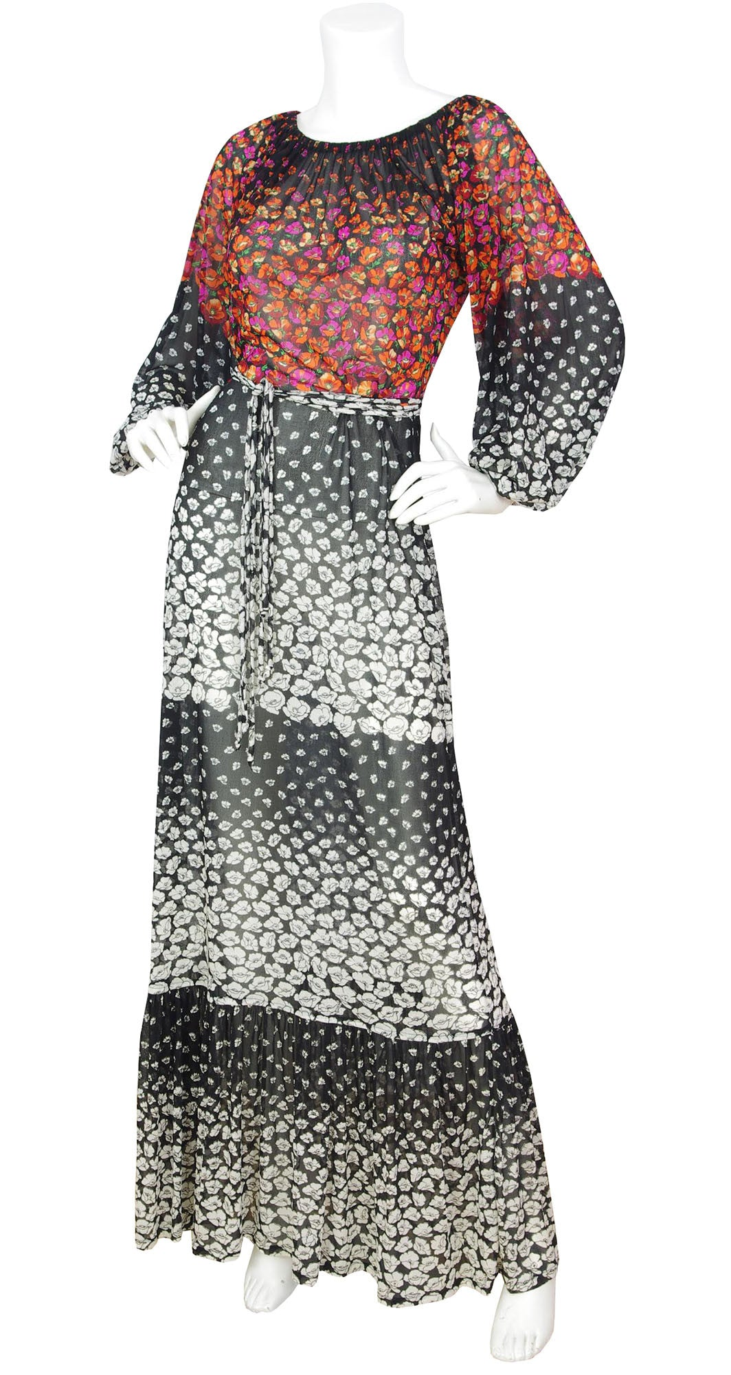1970s Floral Balloon Sleeve Maxi Dress