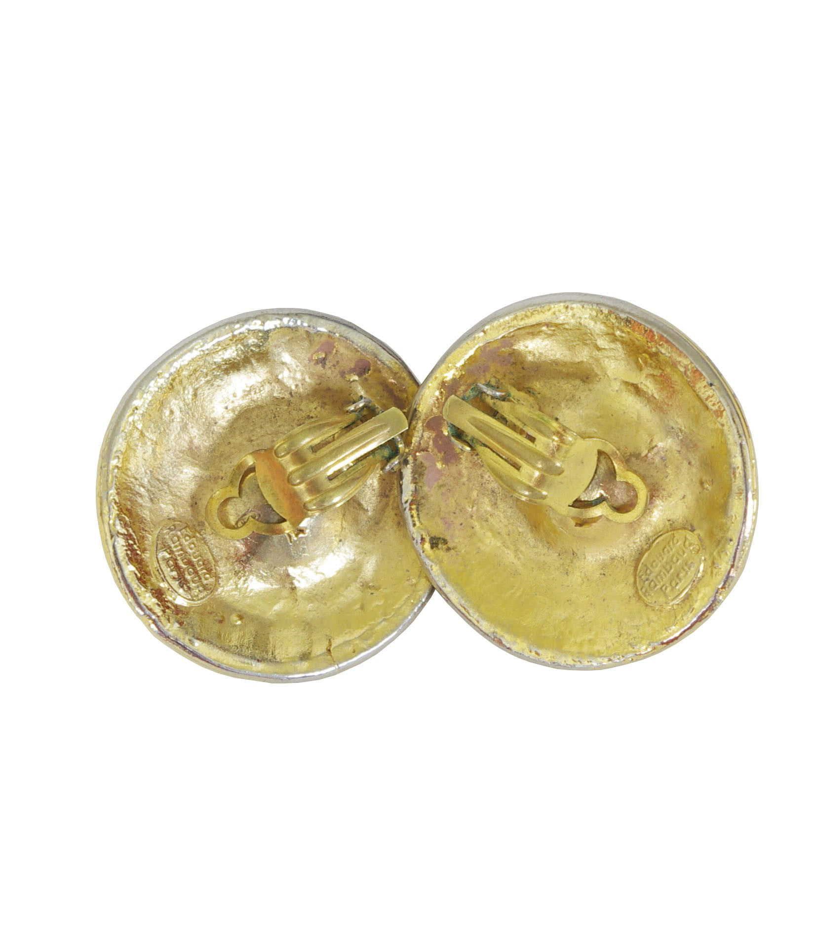 1980's Paris Large Runway Gold Plated Clip-On Earrings