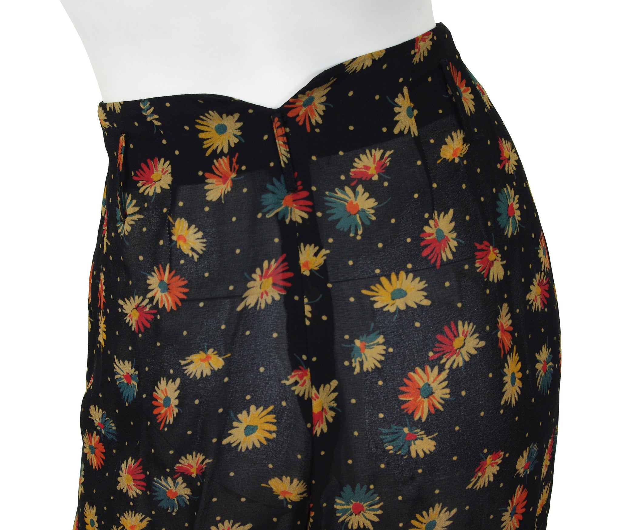 1990s Floral Black Chiffon High Waisted Wide-Leg Pants
