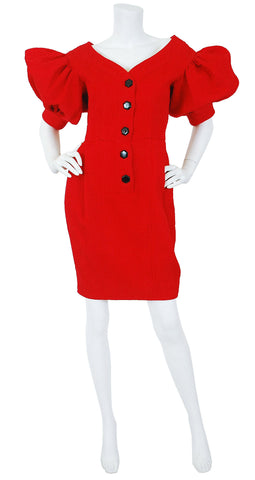 1980's Red Cotton Puff Sleeve Evening Dress