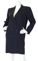1980s Iconic Le Smoking Navy Wool Tuxedo Coat