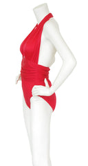 1980s Red Plunge Neck Halter Swimsuit