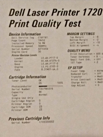 Dell 1720 Print Quality Test