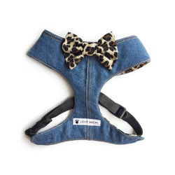 Animal Bow Tie Denim Dog Harness