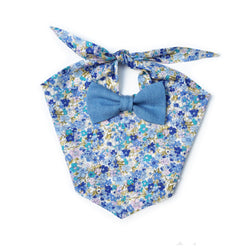 Bluebell Floral Denim Bow Tie Dog Bandana