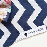 Blue & White Chevron Dog Bandana with Floral Bow Tie