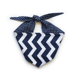 Navy & White Chevron Spot Reversible Dog Bandana