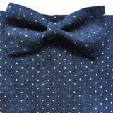 Spotty Print Denim Bow Tie Dog Bandana