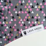 Pink & Grey Geometric Bow Tie Dog Bandana