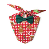 Gingerbread Christmas Bow Tie Bandana