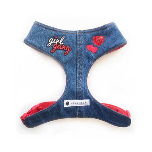 Girl Gang Sequin Heart Denim Dog Harness