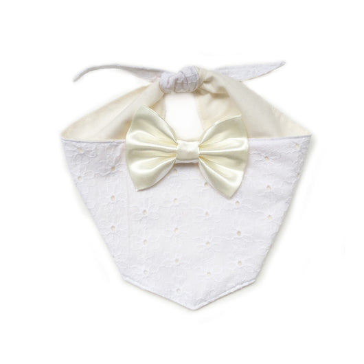 Ivory Broderie Lace Dog Bandana with Bow Tie