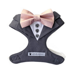 Grey Bow Tie Tuxedo Dog Harness