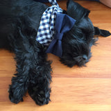 Navy & White Checkered Dog Bandana with Bow Tie