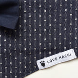 Navy & White Spot Dog Bandana with Bow Tie