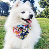 Blue Japanese Floral Bow Tie Dog Bandana