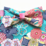 Teal Green Japanese Floral Bow Tie Dog Bandana